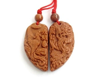 Pair Of Goldstone Pendant Carved Dragon Phoenix Love Heart Amulet Talisman Beads 35mm x 35mm  T0053