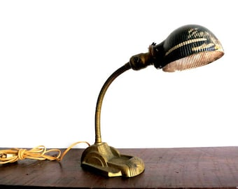 Antique Arts and Crafts Desk Lamp with Mercury Glass Shade