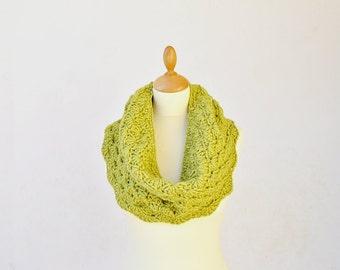 Over Sized Crochet Cowl,  Shell Stitch Cowl, Lime Crochet Hood