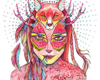 """Fox and girl, """"Spectrum"""" wild animal face water color art by Ola Liola, size 5""""x7"""""""