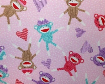 Girly Sock Monkeys and Hearts - Turquoise - Flannel - 1 yard