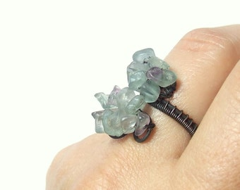Fluorite copper ring  stone antiqued rustic purple green healing stone handmade jewelry