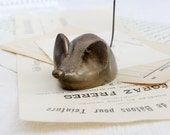 Brass Mouse Note/Receipt Holder, Vintage Desk Accessory