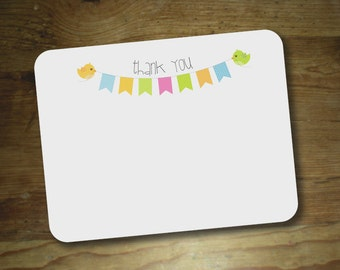 Pennant + birds : Thank you notes Baby shower Boy - Girl - Neutral - Set of 12