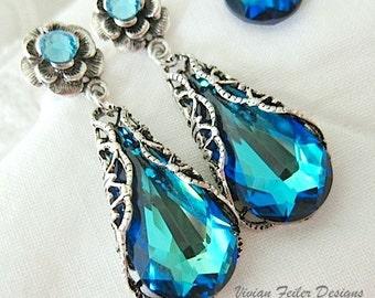 Blue Earrings Victorian Wedding Jewelry Swarovski Crystal Tear Drop on an Antiqued Silver Flower Ear Post