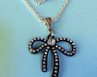 Black and Crystal Bow necklace