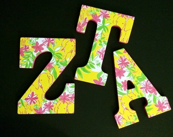 Pink and Yellow Elephant Garden Vista Lilly Pulitzer Inspired Letters