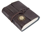 Faux Leather Wrap Journal with Custom Initial Cameo Bookmark and Blank Paper  - Choice of 6 Colors
