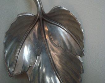 Cast Aluminum Mid Century Bruce Fox Leaf Dish