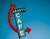 Route 66 Grant's Cafe Neon Sign - Red Arrow Sign - Grants New Mexico - Retro Kitchen Decor - Road Trip Art - Fine Art Photography