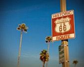 California Route 66 Roadside Sign - Retro Home Decor - Hostess Gift - Pasadena California - Travel Art - Fine Art Photography