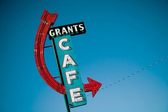 Route 66 Grant's Cafe Neon Sign - Red Arrow Sign - Grants New Mexico - Retro Kitchen Decor - Road Trip Art - Fine Art Photography