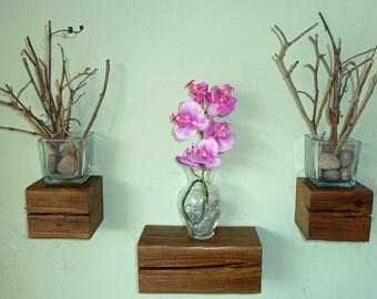 Reclaimed Wood Floating Beam Shelves - Set of 3