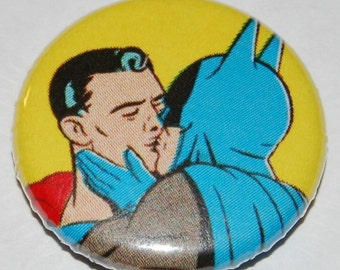 Batman and Superman Kissing Logo Badge 25mm / 1 inch Gay Queer LGBT