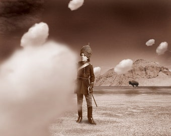 Surreal Victorian Boy With Clouds Buffalo Desert Mountains Avant Garde Photographic Collage Print 5x7
