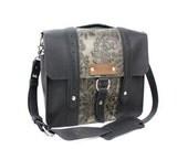 "10"" Black and Green Paisley Ashbury Leather Camera Bag"