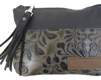 Berkeley Leather Clutch Purse - Black and Green Paisley