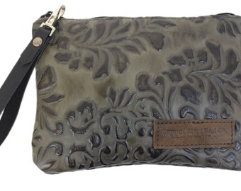 Monterey Leather Clutch Purse - Green Paisley