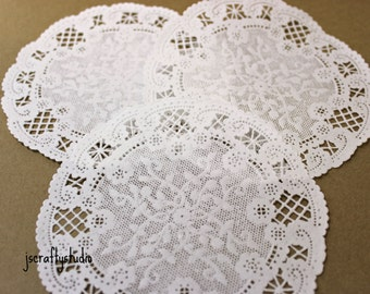 """25 5"""" French Lace White Paper Doilies wedding favor"""