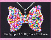 Sprinkle Bow Necklace, Sweet Big Bow Delicious Real Sprinkle Resin Necklace , Scene, Kawaii , Handmade  By: Tranquilityy