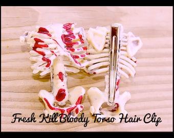 Skeleton Hair Clip ,Fresh Kill Bloody Skeleton  Hair Clip ,Goth Torso Hair  Clip , Halloween ,Handmade By: Tranquilityy