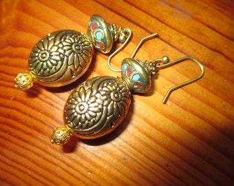 Stunning Genuine TIBETAN Engraved Brass, TURQUOISE & AMBER Copal Resin Inlay Handmade Vintage Dangle/Drop Earrings