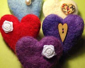 LoveHeart, Needle felted heart brooches. Valentine, Mothers Day, Wedding, gift.