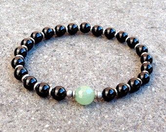 Patience and Balance, onyx and aventurine guru bead mala bracelet