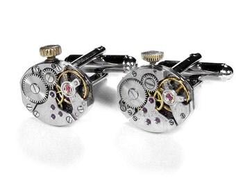 Mens Watch Cufflinks, Steampunk Jewelry, Vintage Watch Cuff Links, SOLDER Mens Anniversary Wedding Groom Fathers Day - by Steampunk Boutique