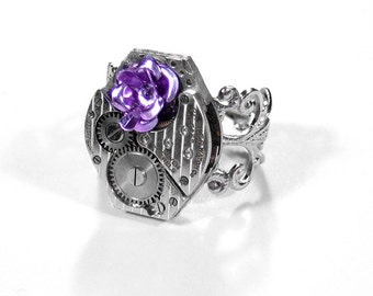 Steampunk Jewelry Ring Vintage PINSTRIPE Watch Movement Lilac Rose Flower  Women Anniversary Girlfriend Gift - Jewelry by Steampunk Boutique