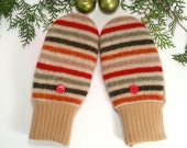 Warm, Wool Mittens for Older Kids. Red, beige and stripes. Fleece lining.