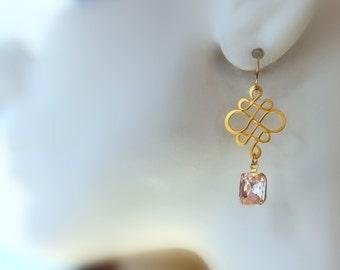 Pink Rosaline Infinity Earrings, Dangle Earrings, Drop Earrings, Chandelier Earrings, Bridal Jewelry, Wedding, Vintage, Modern, Pink Earring