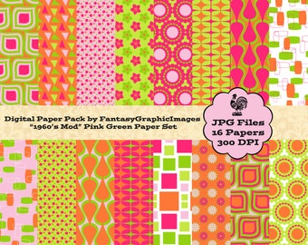 Pink Green Orange Digital Paper Pack Mod Retro Geometric 1960's Colors 16 Papers Photography Background DIY Scrapbooking Instant Download