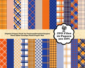 Plaid Digital Paper Tartan Check Navy Blue Orange The Plaid Series 24 Papers Photography Background Printable Scrapbooking Instant Download