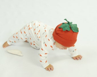 Pumpkin Hat - Organic Baby - Eco Friendly - Baby Hat -  Repurposed - Costume