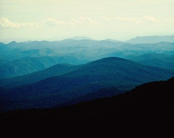 Blue Ridge Mountains - mountain print, wall art, print, photo, North Carolina, landscape, mountain decor, grandfather mountain, Art, blue