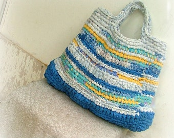 Large beach rag bag crocheted in blue and  yellow  cotton yarns