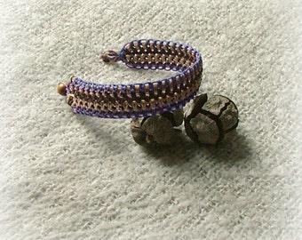 Lavender bliss macrame bracelet with wooden bead