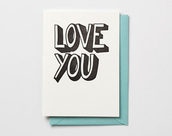 Love You,  in black or neon pink, letterpress folded note card