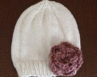 Handknit baby rose hat