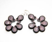 dusty rose and shades of gray -  soutache earrings  free shipping