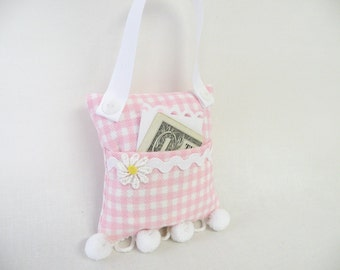 Tooth Fairy Pillow or Purse Toy Pink in Gingham Check - Gift for Girls