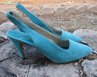 Vintage Turquoise Blue Leather Suede Shoes Pumps Heels Slingback 7 7.5 Narrow Pointed toe 80s