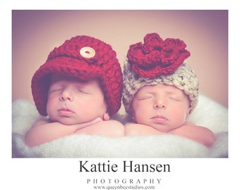 Twin Hat Set in Cranberry and Oatmeal Available in Newborn to 12 Months-MADE TO ORDER