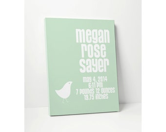 CANVAS: Baby Gift Personalized for Nursery with Baby Name Birth Date in Mint Green or Custom Colors Wall Decor