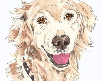 Gift Voucher - Custom Pet Portrait - Custom Dog Portrait - Custom Cat Portrait - 8 x 11 inch Portrait
