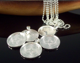 Silver Necklace Kits - 25mm Round Pendant Tray, Ball Chain Necklace - Makes 100 Necklaces