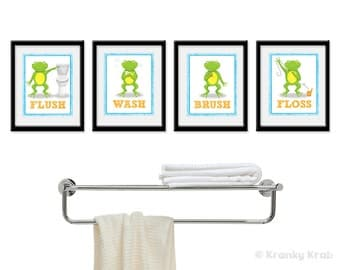 Frog Bathroom Decor Set Of Four Bathroom Decor Prints Frog Bathroom Art Children