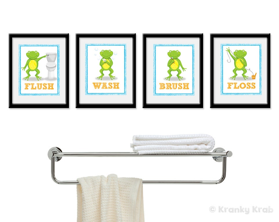 Frog bathroom decor set of four bathroom decor prints frog for Bathroom decor etsy