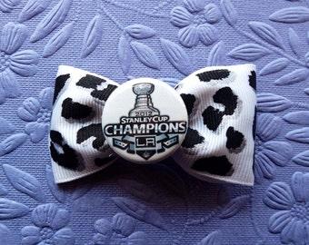 Los Angeles Kings Stanley Cup leopard print hair bow